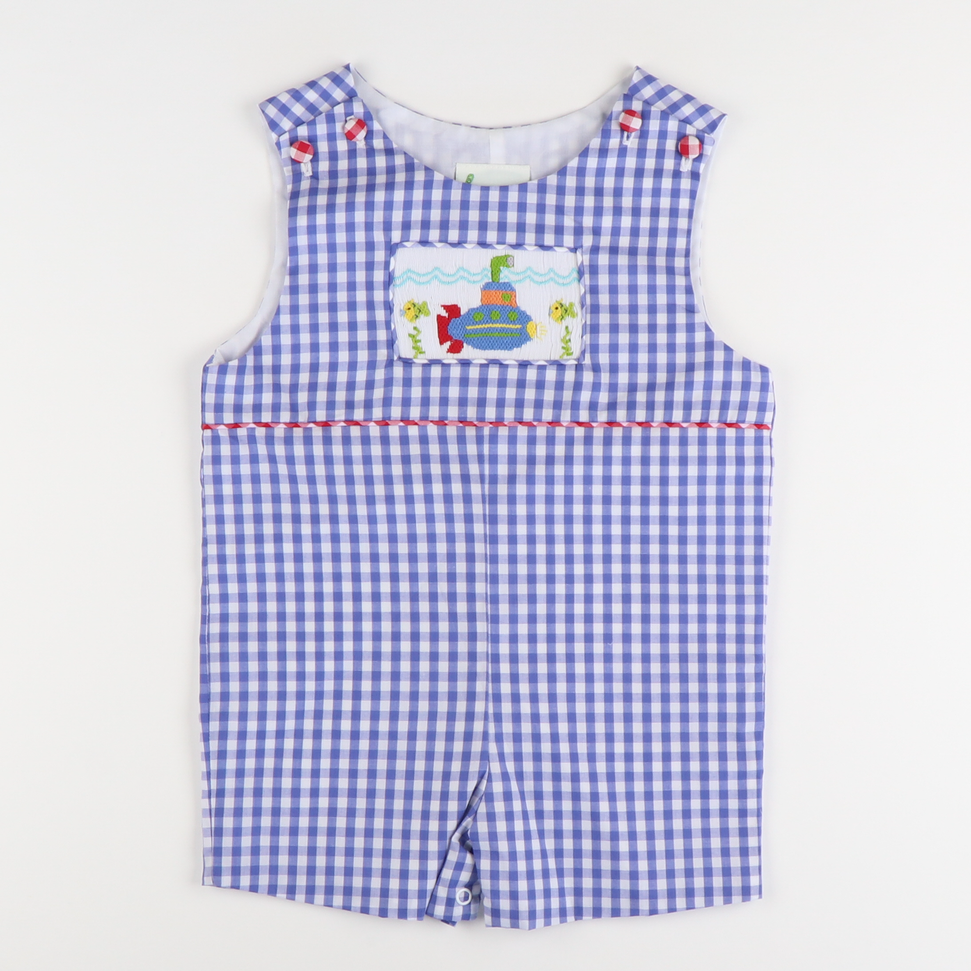 Smocked Submarine Shortall - Blue Check