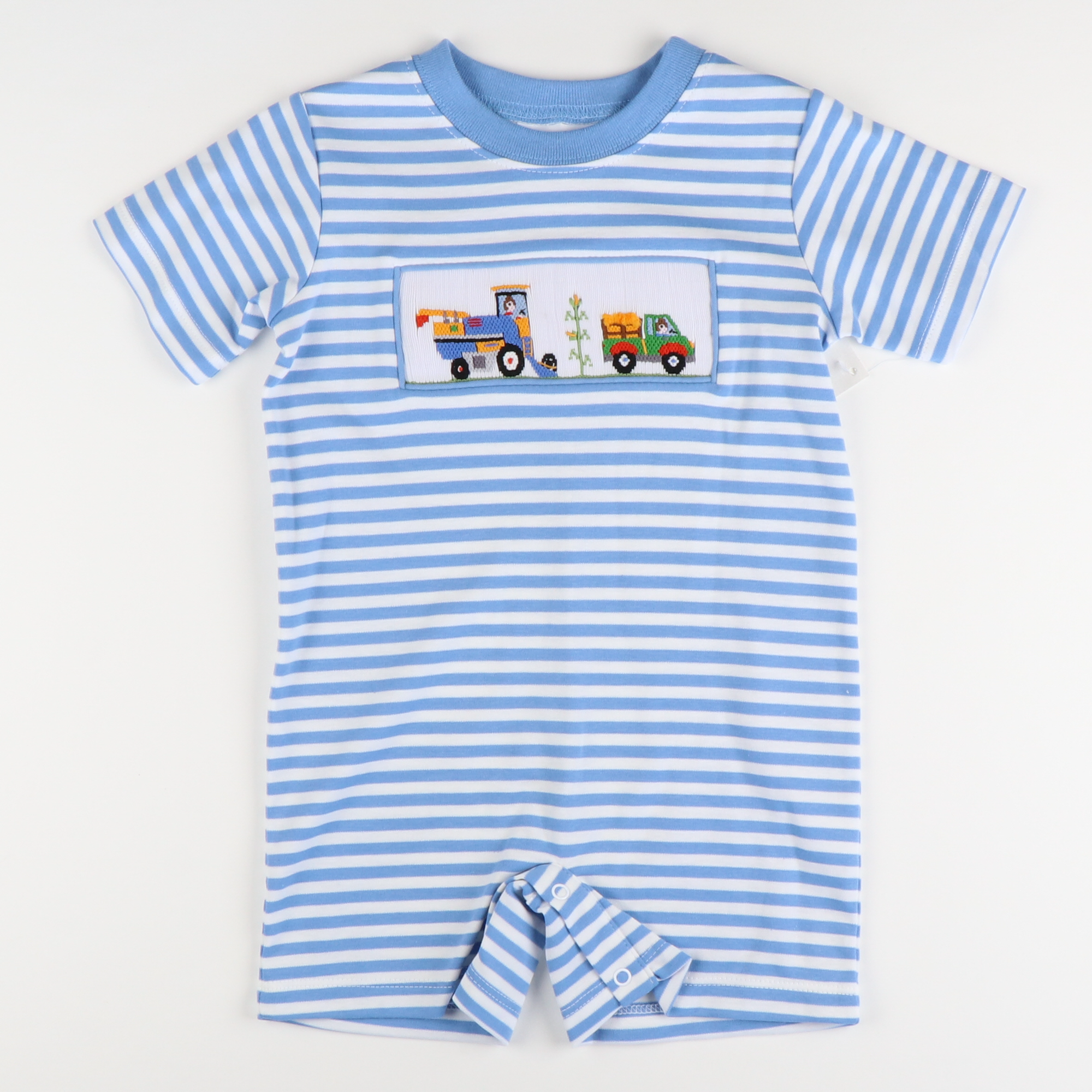Smocked Cornfield Romper - Party Blue Stripe Knit