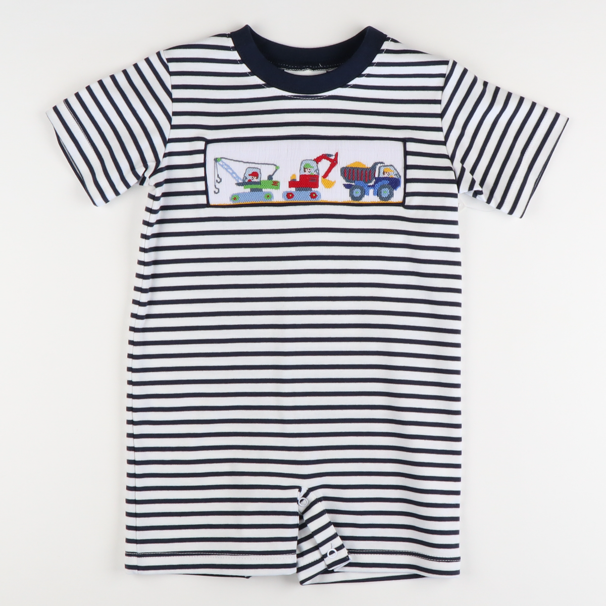 Smocked Construction Boy Romper - Navy Stripe Knit
