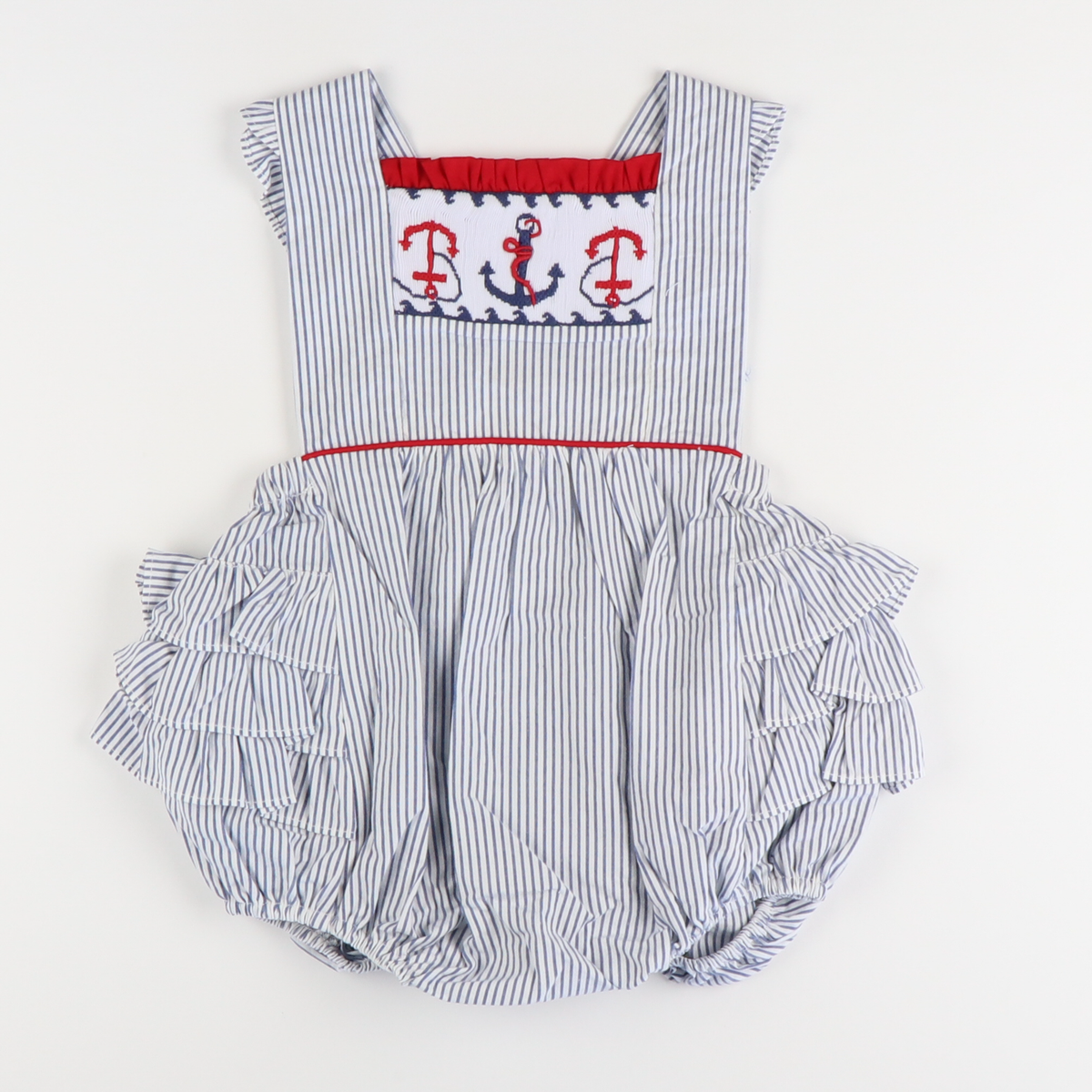 Smocked Anchor Ruffle Bubble - Navy Stripe Seersucker