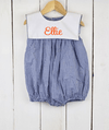 Royal Blue Gingham Bib Girl Bubble