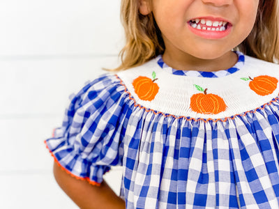 Smocked Pumpkins Bishop - Navy Check