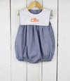 Navy Blue Gingham Bib Girl Bubble