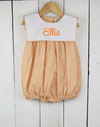 Orange Gingham Bib Girl Bubble