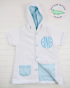 Boy's Aqua Seersucker Cover Up - Southern Smocked Company | Great Deals On Classically Styled Smocked, Monogrammed, & Embroidered Infant, Toddler, & Children's Clothing