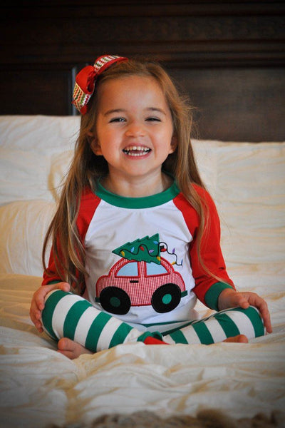 CHRISTMAS TREE & CAR PAJAMA SET - Southern Smocked Company | Great Deals On Classically Styled Smocked, Monogrammed, & Embroidered Infant, Toddler, & Children's Clothing