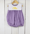 Purple Gingham Bib Girl Bubble