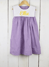 Purple Gingham Bib Dress