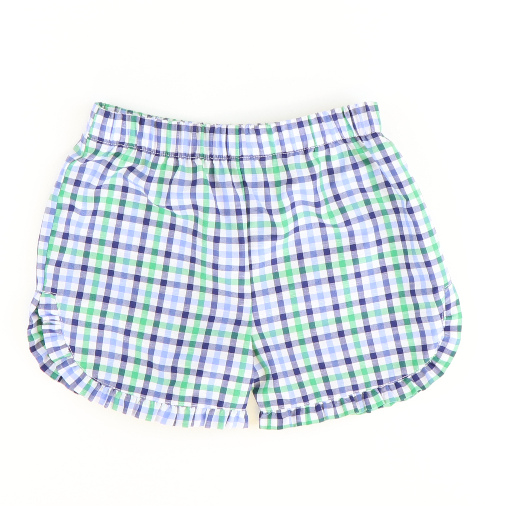 Ruffle Shorts - Navy Blue & Green Plaid - Stellybelly ?id=28114125389903