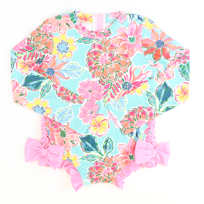 Tropical Floral One-Piece Rash Guard - Stellybelly ?id=27981525286991