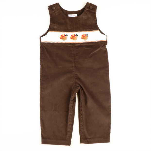 Smocked Turkeys Longall - Brown Corduroy