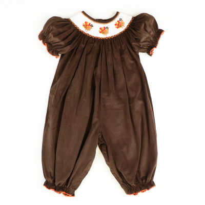 Smocked Turkeys Girl Long Bubble - Brown Corduroy