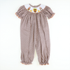 Smocked Thanksgiving Gingham Girls Long Bubble