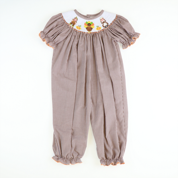 Smocked Thanksgiving Girl Long Bubble - Brown Gingham