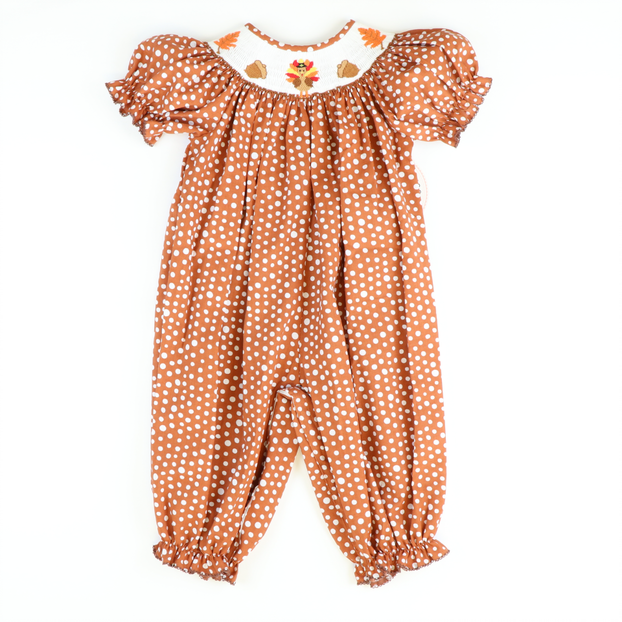 Smocked Autumn Turkey Polka Dot Girl Long Bubble