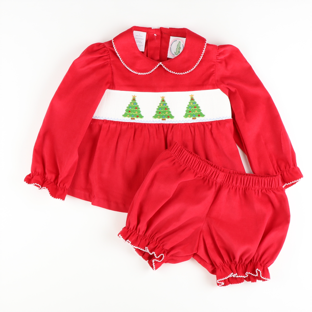Smocked Christmas Tree Top & Bloomer Set
