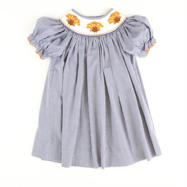 Smocked Turkeys Bishop - Navy Mini Gingham
