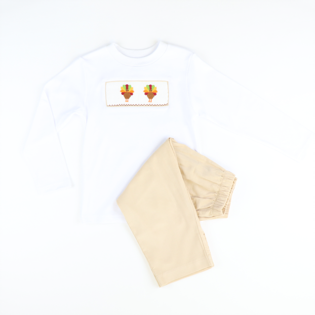 Smocked Turkeys Shirt & Pants Set - Tan Corduroy