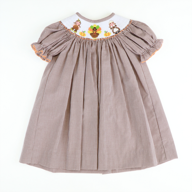 Smocked Thanksgiving Bishop - Brown Gingham