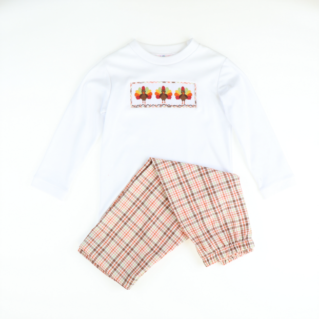 Smocked Thanksgiving Autumn Plaid Long Sleeve Shirt & Pants Set