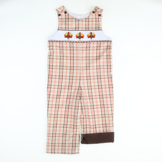 Smocked Thanksgiving Autumn Plaid Longall