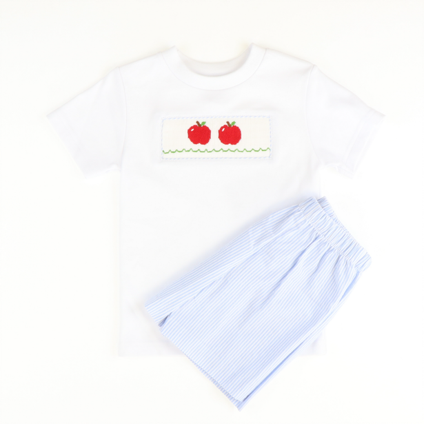 Smocked Apples Shirt & Short Set - Light Blue Stripe Seersucker - Stellybelly ?id=28062419648591