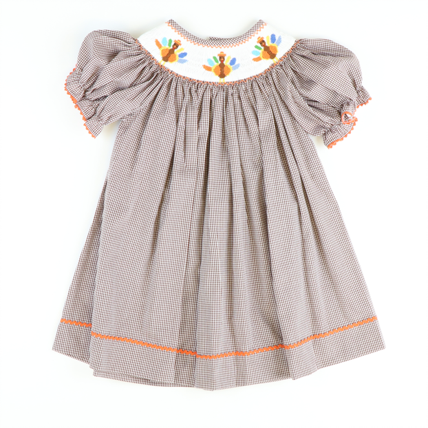 Smocked Turkey Brown Gingham Bishop