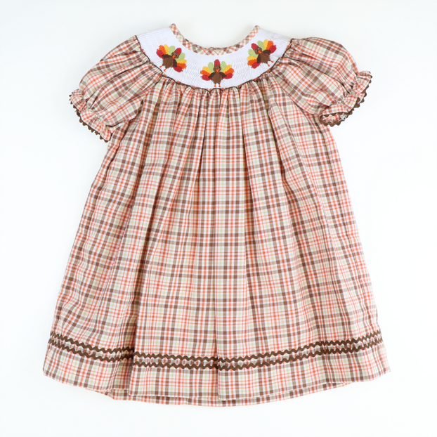 Smocked Thanksgiving Autumn Plaid Bishop