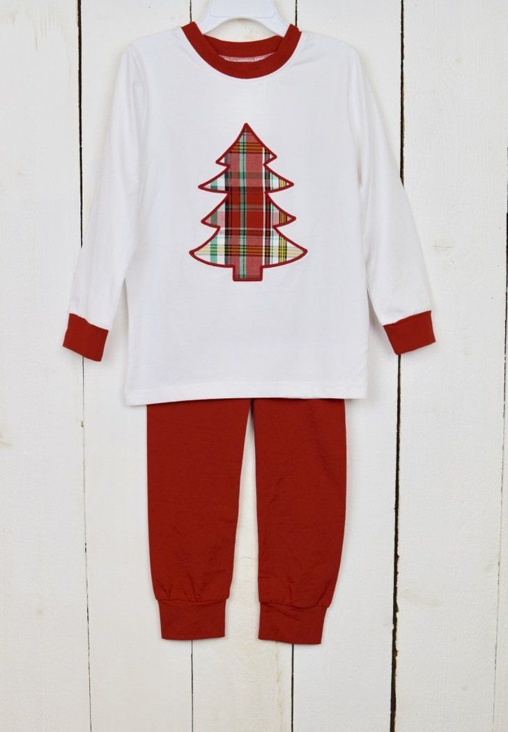Plaid Christmas Tree Knit Pajama Set