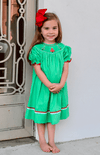 BRIGHT GREEN SMOCKED RED AND GREEN CHRISTMAS TREES BISHOP