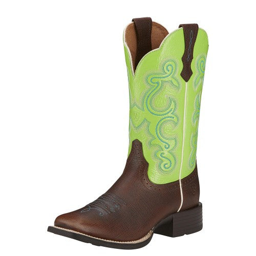 Ariat Quickdraw - Scratched Chestnut / Bright Lime - Kerlin's Western and Work Wear