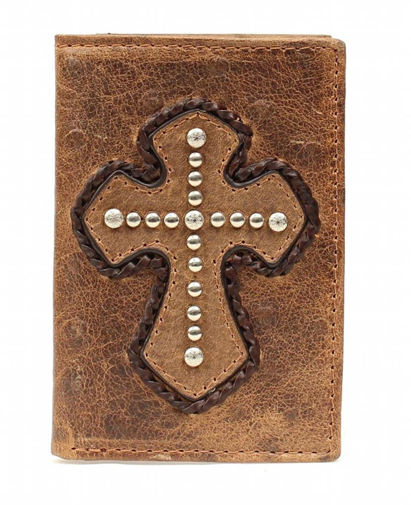 Nocona Trifold Leather Cross Wallet in Whiskey Ostrich