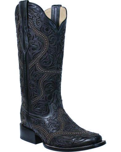 Corral Black Overlay and Studs Square Toe Boot