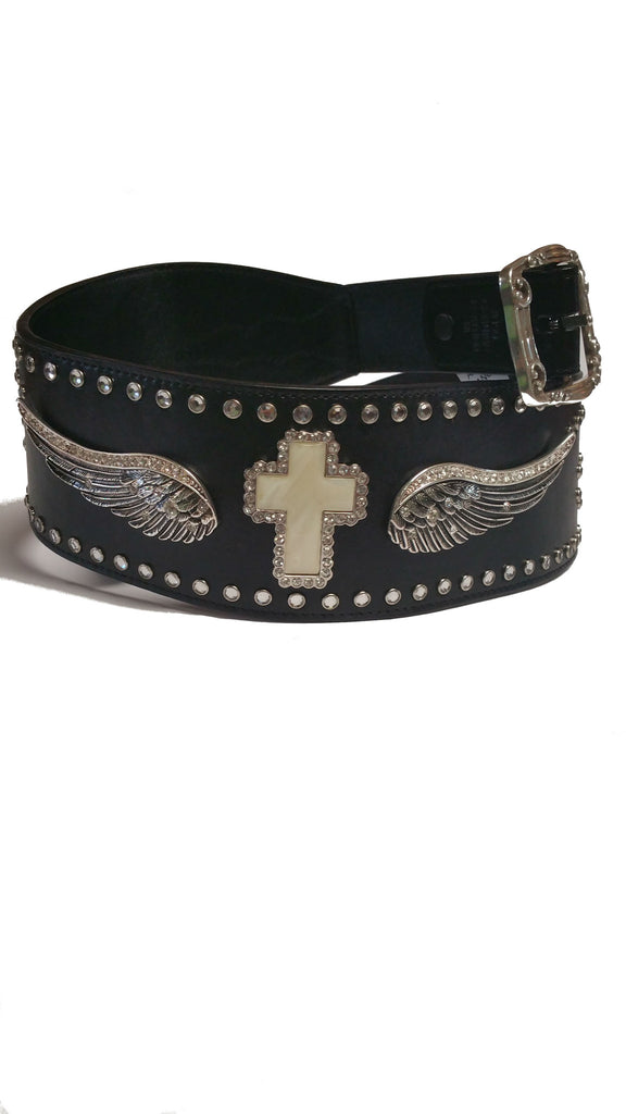 "Angel Ranch 3"" Fashion Belt with Angel Wing and Cross Concho - Kerlin's Western and Work Wear"