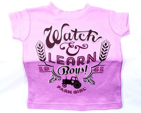 "Farm Girl ""watch & learn boys""- purple - Kerlin's Western and Work Wear"