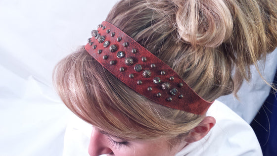 Head Band - Rowdy Cowgirl Red Leather - Kerlin's Western and Work Wear  - 1