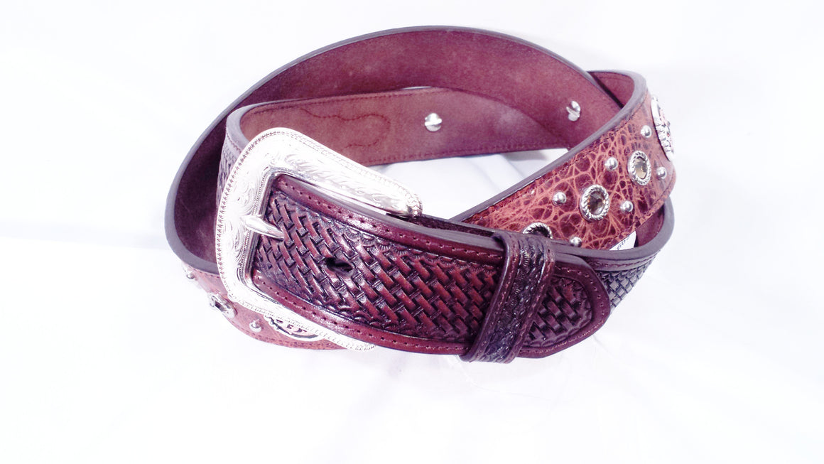 3-D Belt Company Men's Brown Pr int/Topaz Stone Western Belt - Kerlin's Western and Work Wear  - 1