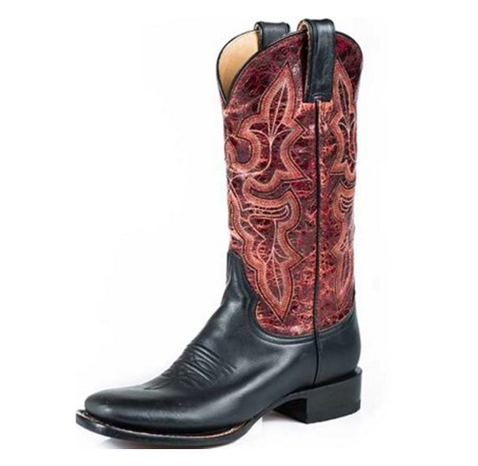 Stetson Western Boots Womens Red Crackle Black