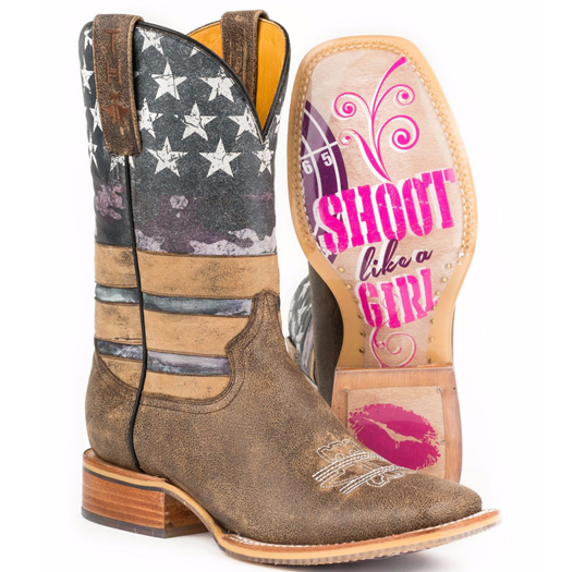 Tin Haul American Woman Boots w/Shoot Like A Girl Sole