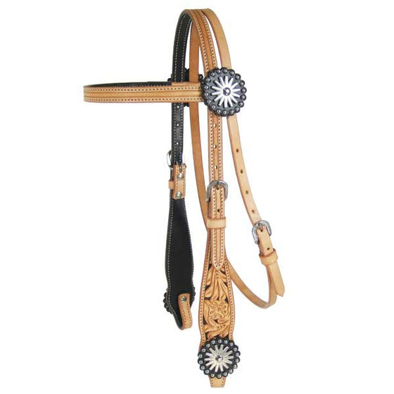 Black & Natural Floral Headstall - Kerlin's Western and Work Wear