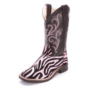 Old West Zebra Cowgirl Boots Pink - Youth - Kerlin's Western and Work Wear