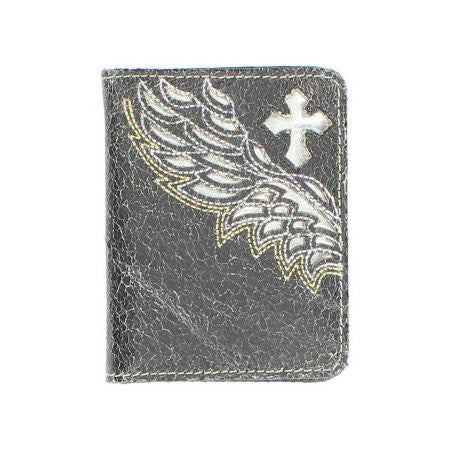Bifold Cross Wings Black Leather Wallet