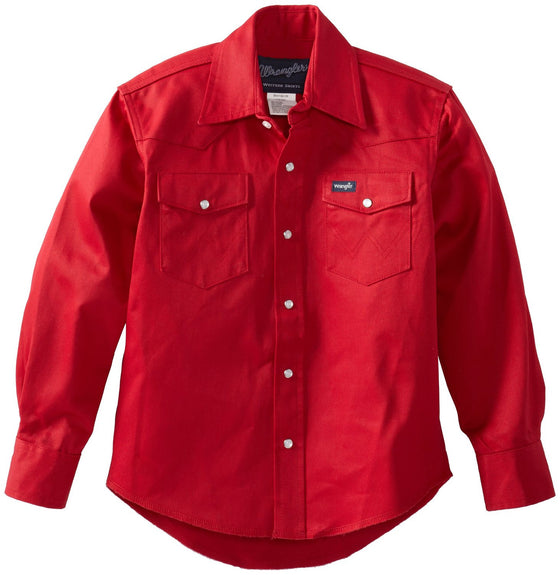 Wrangler Boys Basic Solid Snap Shirt Red - Kerlin's Western and Work Wear