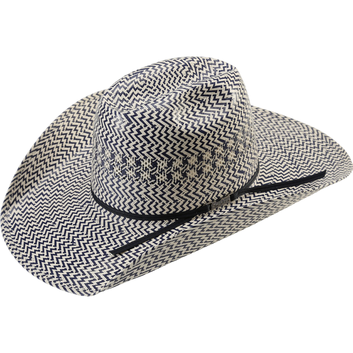 American Hat Company Blue and Ivory Straw Hat