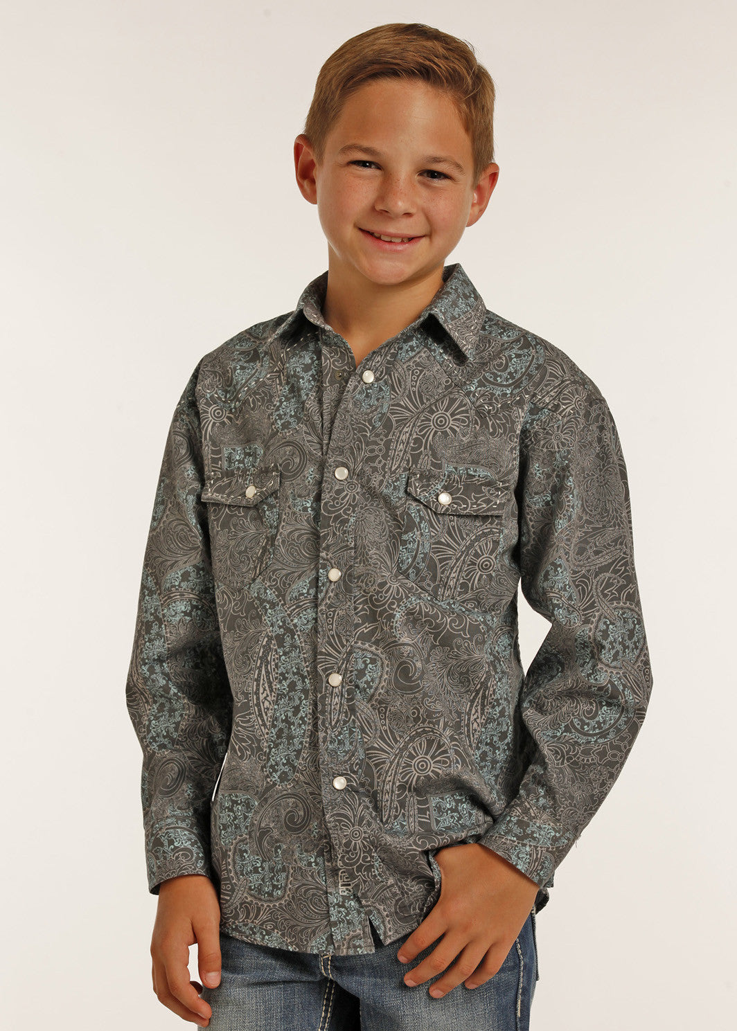 Boy's Rock & Roll Poplin Paisley Shirt