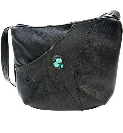 Breezy Mountian Leather Purse with Handgun Pocket and Touquese Gem - Kerlin's Western and Work Wear