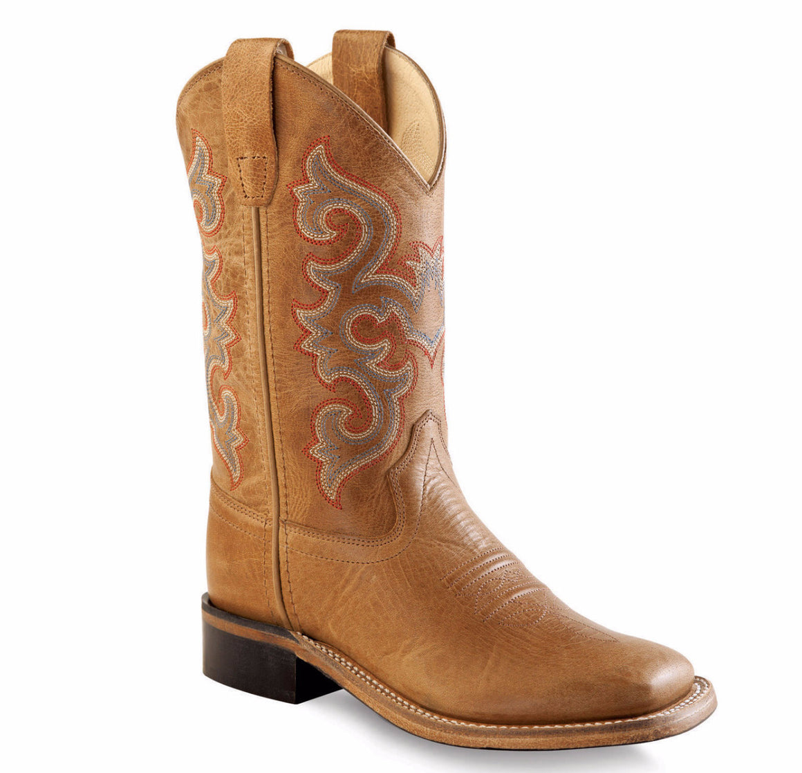 Old West Corona Calf Tan Square Toe Boots - Youth - Kerlin's Western and Work Wear
