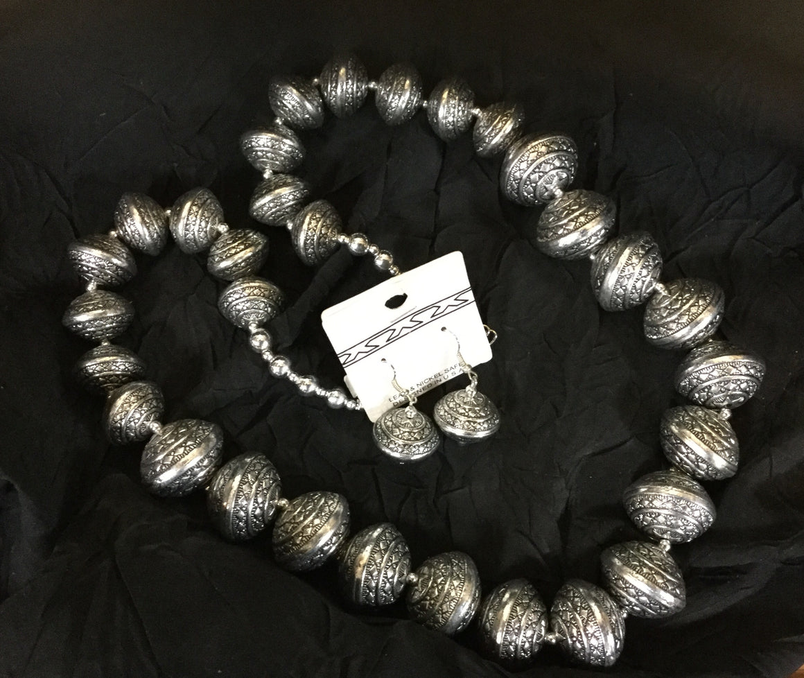 Large Etched Silver Beaded Necklace