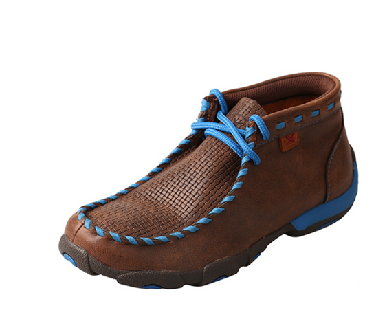 Kid's Driving Moccasins – Brown/Blue