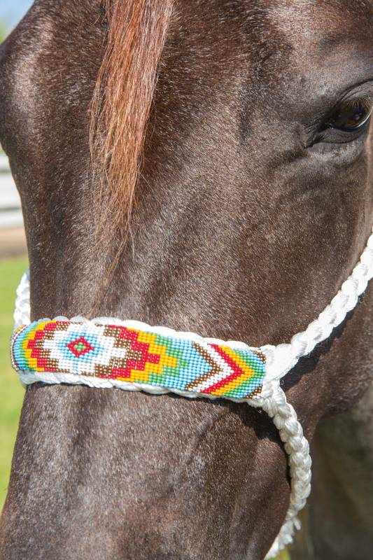 Cowboy Braided Rope Halter With Beaded Noseband